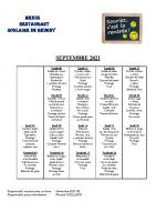 menu SEPTEMBRE 2021