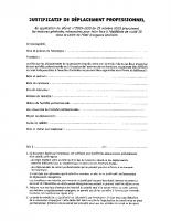 ATTESTATION DEPLACEMENT PROFESSIONNEL